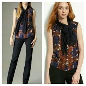 Tory Burch Sandra Silk Wool Tie Neck Blouse Sz 10
